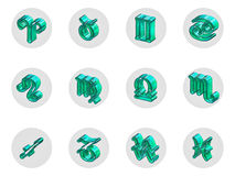 Set of isolated 3D zodiac icons for web and print. Set of isolated on white 3D zodiac icons for web and print Royalty Free Stock Photos