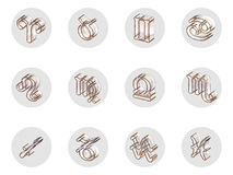 Set of isolated 3D zodiac icons for web and print. Set of isolated on white 3D zodiac icons for web and print Stock Photo