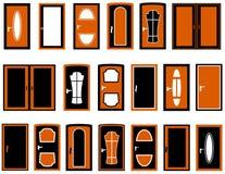Set isolated doors Stock Photos