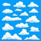 Set of isolated eddy or clouds at sky. Set of isolated clouds in sky, cumulus and fluffy eddy or simple swarm at summer day, beautiful heaven. Weather forecast vector illustration