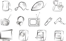 Set of isolated electric goods. Home related. icons stock illustration