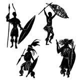 Set of isolated elements ink Zulu warriors  illustration Royalty Free Stock Photo