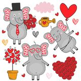 Set of isolated elephant in love part 3 Royalty Free Stock Photography