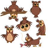 Set isolated Emoji character cartoon owl with different emotions. Vector Illustrations Stock Photos