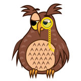 Set isolated Emoji character cartoon sarcastic owl with pince nez. Vector Illustrations Stock Images