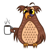 Set isolated Emoji character cartoon sleepy owl with coffe cup. Vector Illustrations Royalty Free Stock Images