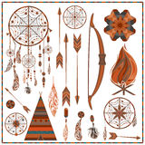 Set isolated ethnic elements arrows, feathers Royalty Free Stock Photos