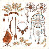 Set isolated ethnic elements arrows, feathers. Set of ethnic style. Dreamcatcher. Indian colored decorative components. Isolated arrows, feathers, fire, fang Royalty Free Stock Photography