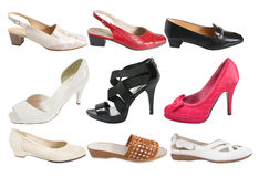 Set of isolated  female shoe Royalty Free Stock Photos