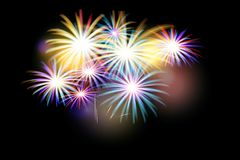 Set of isolated  fireworks. On a black background. Illustration Royalty Free Stock Images