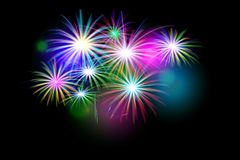 Set of isolated  fireworks. On a black background. Illustration Royalty Free Stock Photography