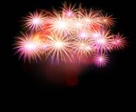 Set of isolated  fireworks. On a black background. Illustration Royalty Free Stock Image