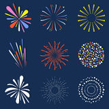 Set of isolated fireworks. Brightly, colorful and monochrome celebration firework balls. Vector Stock Photo