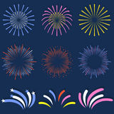 Set of isolated fireworks. Brightly, colorful and monochrome celebration firework balls Royalty Free Stock Image