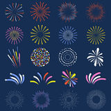 Set of isolated fireworks. Brightly, colorful and monochrome celebration firework balls. Vector Stock Image
