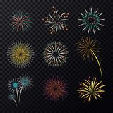 Pyrotechnic explosion or fireworks for celebration. Set of isolated fireworks, fire splash and burst for holiday and fourth july celebration, new year and Royalty Free Stock Image