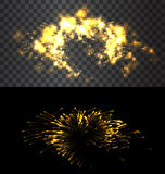 Set of isolated fireworks. Set of isolated golden fireworks on black and transparent backdrop - vector Royalty Free Stock Photo