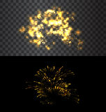 Set of isolated fireworks. Set of isolated golden fireworks on black and transparent backdrop - vector Stock Photo