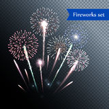 Set of isolated fireworks. Set of isolated vector fireworks Royalty Free Stock Photography