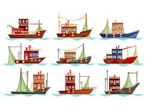 Set of isolated trawler or ship, boat for fishing. Set of isolated fishing boats with net. Vessel at river or sea, ocean searching for catch or trawler with Royalty Free Stock Image