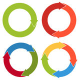 Set of 4 isolated flat colorful circular arrows with different n Stock Images