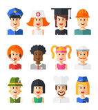 Set of isolated flat design people icon avatars Stock Photography