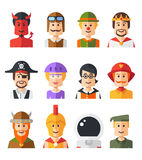 Set of isolated flat design people icon avatars Royalty Free Stock Photos