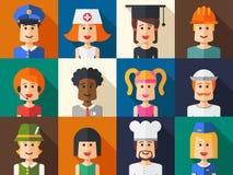 Set of isolated flat design people icon avatars Royalty Free Stock Image