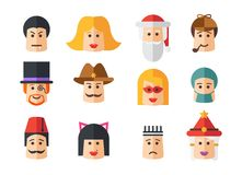 Set of isolated flat design people icon avatars Royalty Free Stock Photography