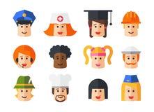 Set of isolated flat design people icon avatars Royalty Free Stock Photo