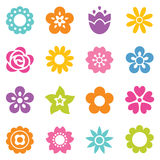 Set of isolated flat flower icons in bright colors Royalty Free Stock Photography