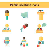 Set of isolated flat icons on public speaking Royalty Free Stock Photography