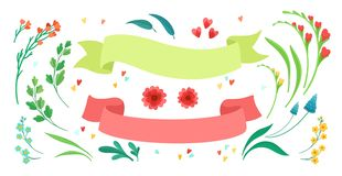 Set of isolated floral elements and ribbons. vector illustration