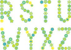 Font. Set of isolated floral font Royalty Free Stock Photography