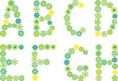 Font. Set of isolated floral font Royalty Free Stock Photos