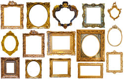Set of isolated frames. Set of isolated art empty frames in golden and silvery color Stock Photos