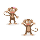Set of isolated friendly monkeys. The symbol of the year 2016.  Royalty Free Stock Image