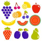 Set isolated fruit icons Royalty Free Stock Image