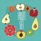 Set of isolated fruits in cross sections Royalty Free Stock Photography