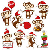 Set Of Isolated Funny Monkey Icons. Stock Image
