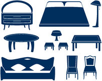 Set isolated furniture objects Stock Photography
