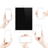 Set of isolated gadgets and hands Royalty Free Stock Image