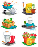 Set Of Isolated Garden Design Compositions. Of colored decorative icons with handcart watering can rubber boots inventory for agriculture work flat vector Royalty Free Stock Photo