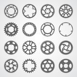 Set of 16 isolated gears and cogs. Gear icon set. 16 vector cog wheel silhouettes isolated on white background. Gears collection for logo, app buttons or Stock Photo