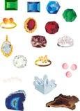 Set of isolated gems Stock Image