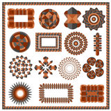 Set of isolated geometric patterns. Elements of brown color on a white background for the design of logos, frame in a modern style. Vector illustration Royalty Free Stock Photography