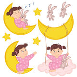 Set of isolated girl on moon Royalty Free Stock Images