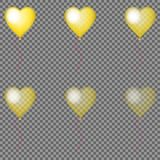 Set of isolated glossy golden transparent balloons with pink ribbon. Design for wedding, anniversary, Valentine`s day, party, card Royalty Free Stock Image