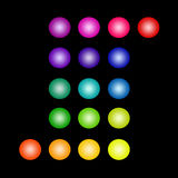 Set of Isolated Glowing Colored Circles Stock Photography