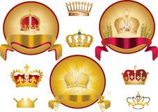 Set of isolated gold crowns Royalty Free Stock Images